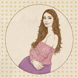 Pregnant woman with pink sweater and long brown hair,. Prenatal Royalty Free Stock Images
