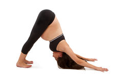 Pregnant Woman Practicing Yoga Royalty Free Stock Images