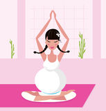 Pregnant woman practicing yoga asana Stock Photography