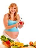Pregnant woman preparing food Stock Photography