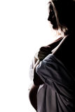 Pregnant woman profile. High contrast profile of a pregnant woman royalty free stock photos