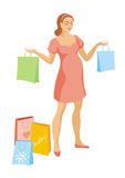 The pregnant woman with purchases Stock Image