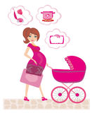 Pregnant woman pushing a stroller and thinks of  homework. Vector Illustration Stock Image