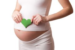 Pregnant woman put a green toy heart to his stomach isolated on white. Background Royalty Free Stock Images