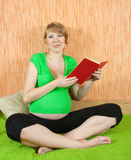 Pregnant woman reading Stock Image