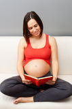 Pregnant woman reading book Royalty Free Stock Image