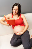 Pregnant woman reading book at home Royalty Free Stock Photography