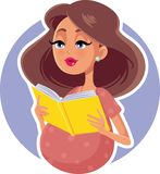 Pregnant Woman Reading a Parenting Book royalty free illustration