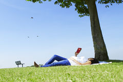 Pregnant woman reading under a tree. Pregnant woman reading under the shade of a tree in the sunshine with birds flying by Royalty Free Stock Image