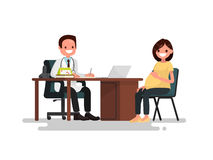 Pregnant woman on reception at the doctor. Vector illustration. Of a flat design Stock Photos
