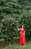 Pregnant woman in red dress Stock Image
