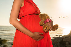 Pregnant woman in red dress standing by ocean with toy Royalty Free Stock Image