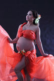 Pregnant woman with a red dress. Stock Image