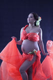 Pregnant woman with a red dress. Stock Photo