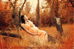 Pregnant woman in red forest Stock Photo