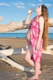 Pregnant woman relax and drink water Stock Photo