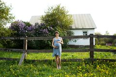 Pregnant woman are relaxing in the garden at house. pregnant woman holding her belly and flower in the garden stock photo