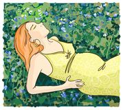 Pregnant woman relaxing on grass illustration. Royalty Free Stock Image