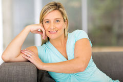 Pregnant woman relaxing home Stock Image
