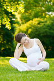 Pregnant woman relaxing in the park. Beautiful pregnant woman relaxing in the park Royalty Free Stock Photos