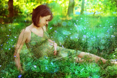 Pregnant woman relaxing on a romantic clearing. Stock Photos