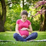 Pregnant woman relaxing in the spring park Royalty Free Stock Photo