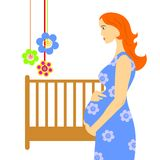 Pregnant woman in room Stock Photo