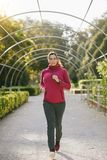 Pregnant woman running in autumn. Pregnant sporty woman jogging at the park on early autumn. Gravid female athlete doing healthy exercise during pregnancy for Stock Photo