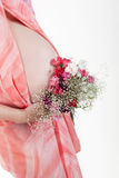Pregnant woman's belly with flowers Stock Photography