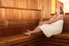 Pregnant woman in Sauna Royalty Free Stock Photos