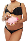 Pregnant woman saving money. Royalty Free Stock Photo