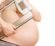 Pregnant Woman With Scales Royalty Free Stock Photo