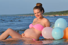 Pregnant woman in sea Royalty Free Stock Photo