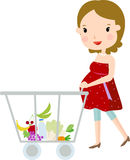 Pregnant Woman Shopping. Illustration of pregnant Woman Shopping Royalty Free Stock Photos