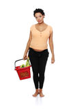 Pregnant woman on shopping. Full lenght picture of a pregnant woman carrying a shopping bascet, isolated on a white background Stock Photography