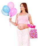 Pregnant woman with shopping bag. Isolated Royalty Free Stock Image