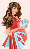 Pregnant woman with shopping bags. Vector illustration Royalty Free Stock Photography