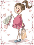 Pregnant Woman with Shopping Bags. Vector hand-drawn cartoon illustration of a pregnant young woman with shopping bags. Cute character with swirl page borders stock illustration