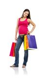 Pregnant woman shopping isolated on white Royalty Free Stock Photo