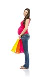 Pregnant woman shopping isolated on white Stock Photos