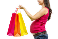 Pregnant woman shopping isolated on white Stock Image
