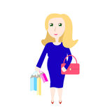 Pregnant woman shopping vector illustration Royalty Free Stock Photos