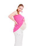 Pregnant woman showing her belly Royalty Free Stock Photos