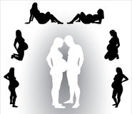 Pregnant woman silhouette Royalty Free Stock Images