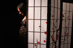 Pregnant woman silhouette stock images