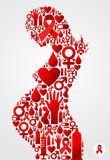 Pregnant woman silhouette with AIDS icons Stock Photos