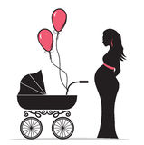 Pregnant woman silhouette with baby carriage Royalty Free Stock Photography