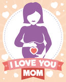 Pregnant Woman Silhouette with a Lovely Ribbon, Vector Illustration royalty free stock images