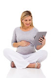 Pregnant woman sitting floor Stock Images