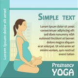 Pregnant woman sitting in lotus position against the window, vec Royalty Free Stock Photo